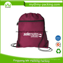 Sac de cordon de sac à dos à fermeture à glissière pliable imprimé logo personnalisé