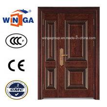 3D Design Braun Farbe Außen Sicherheit Stahl Metall Tür (W-SZ-05)