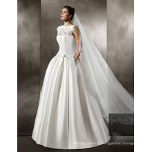 Satin/Lace Floor Length Wedding Gown