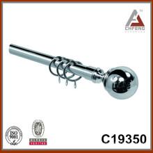 C19350 telescopic curtain rod set,iron ball curtain rod finial,plated curtain rod