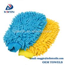Mitaine de la meilleure qualité de lavage de microfiber de conception faite sur commande, grand gant de lavage de voiture de Chenille de haute densité