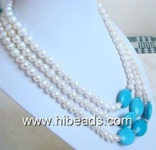 fashion turquoise costume jewelry with pearls TQN0069