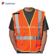 Atacado Fabricação 100% Malha de Poliéster Laranja Ferroviária Jaqueta Workwear Personalizado Alta Visibilidade Colete de Segurança Colete Bolso