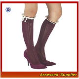 Women Knitted Leg Warmer with Lace Trim, Knee High Boot Socks with Lace --ZP01184