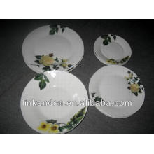 Haonai hot sales 18pcs round porcelain dinner plates set