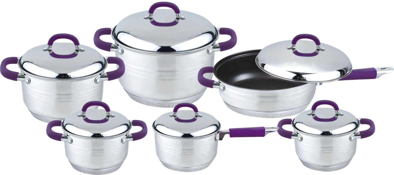 Big silicone handle 12pcs cookware set