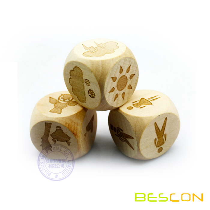35mm 6 Sides Custom Engraved Wooden Dice with Round Corner
