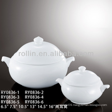 Porcelain soup tureen with lid and handles