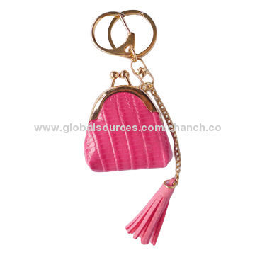 Trendy PU Leather Keychains with Coin Purse Shape and Tassel Decoration/Available in Various Colors