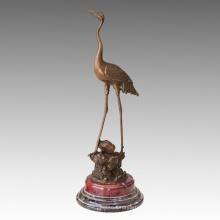 Sculpture en bronze de sculpture de grue rouge-couronnée Statue animale Tpal-470/471