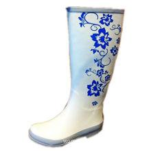 White Blue Flower Half White Womens Rain Boot Size 37 / 38