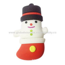 Custom snow man-shaped USB flash drive, made of soft PVC material, OEM orders are welcomeNew