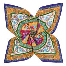 Chegada nova lenço quadrado de seda chinesa com círculo redondo e flores cadeia padrão de impressão digital cachecol