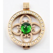 Высокое качество 316L Нержавеющая сталь медальон кулон с зубцами камней