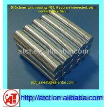 Neodimio D15x2 mm disco pequeños imanes redondos con recubrimiento de Zinc