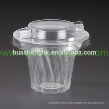 Einweg individuell bedruckte 200ml durchsichtige PP Plastikbecher mit Deckel