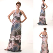 последний стиль мода высокое качество бисером Холтер печати шифон вечернее платье AS103