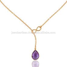 18 Zoll Gelbes Gold überzogene silberne u. Lila Amethyst schöne Halskette