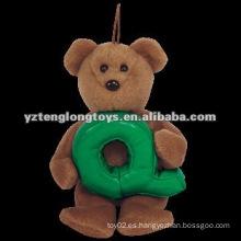 "Lovely con la letra ""Q"" Brown peluche rellena juguetes de oso"