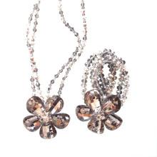 Handgemachte Luxus-Silber-Kristallblumen-Halsketten-Armband-Schmucksache-Set für Partei oder Show