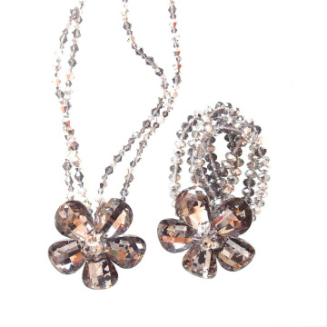 Handmade Luxury Silver Crystal Flower Necklace Bracelet Jewelry Set For Party or Show
