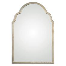 Espejo de pared enmarcado metal acabado champaña de plata de las ventas calientes para las decoraciones caseras