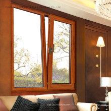 Fenêtre à battants en aluminium enduit de poudre avec double vitrage (FT-W108)