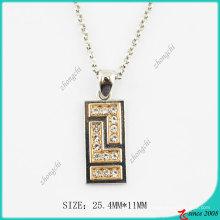Mode Metall Rechteck Kristalle Halskette (PN)