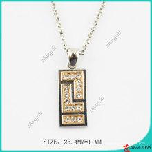 Collar de cristales rectangulares de metal de moda (PN)