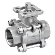 316 robinet à tournant sphérique d'acier inoxydable de 3 PC avec ISO5211