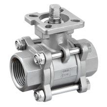 316 3 PC Stainless Steel Ball Valve with ISO5211
