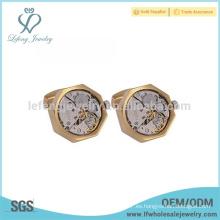 Mancuernas más vendidas del mecanismo del reloj, joyería de cobre amarillo del gemelo