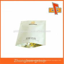 China fabricante laminación de tres capas stand up bolsa de papel kraft blanco para el café con zippper