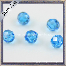 Aqua Blue Faceted Cubic Zirconia Beads with Hole Drilled