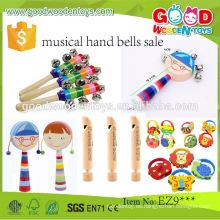 2016 promocional niños de colores musicales conjuntos de instrumentos rítmico palo educativo de madera juguetes musicales para niños