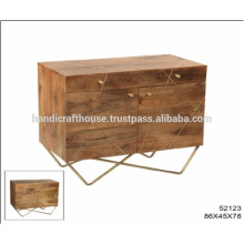 Industrial Brass Inlay Metal Legs 2 Drawers 2 Doors Cabinet
