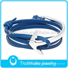 PU Leather with Silver Clap Meaningful Bracelet Stainless Steel Anchor Dark Blue Leather Bangle Two Tone Stainless Steel Jewelry