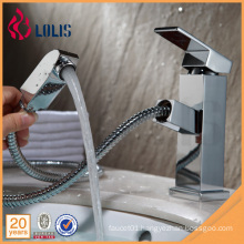 Fancy polished brass single lever pull out bathroom sink faucets