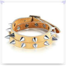 Aço inoxidável jóias de couro pulseira de couro da jóia (lb457)