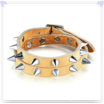 Stainless Steel Jewelry Leather Jewelry Leather Bracelet (LB457)