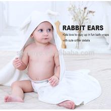 Serviette à capuchon en bambou pour bébé, lapin blanc avec oreille, serviette de bain bébé organique extra-doux pour bébé, tout-petit ou enfant