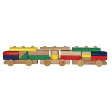 Blocos de construção montagem de trem de madeira brinquedos