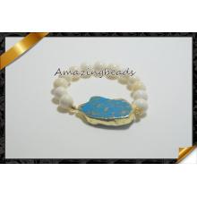 Handmade natural druzy mar sedimento gemstone pulseiras jóias (CB024)