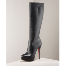 Botas do joelho das botas do vestido das senhoras do salto alto da forma (Hcy02-087)