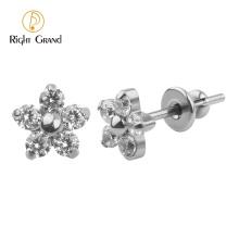 Titanium Small Flower Helix Clear CZ Ear Piercing Studs