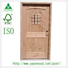 Puerta de madera sólida exterior de diseño de moda