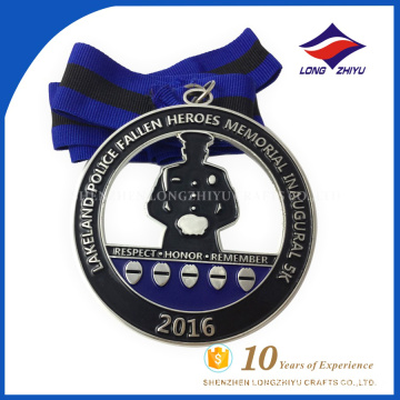 2016 Custom design and heroes metal blue medal ribbon