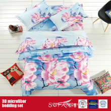 Printing Polyester Linen Big Flower Wholesale 3D Bed Sheet