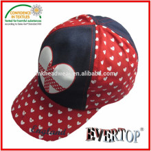 Sombrero y gorra de algodón de cinco paneles con impresión de corazón