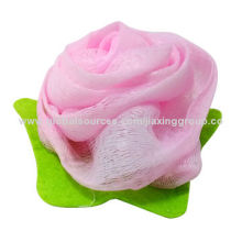 High quality flower shape bath sponge, available in various colors, OEM orders are welcome
